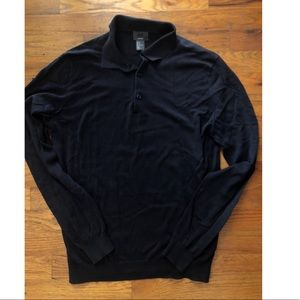 H&M ▪️ men's long sleeve black henley top